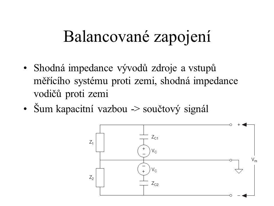 Balancované zapojení Shodná impedance vývodů zdroje a vstupů měřícího systému proti zemi, shodná impedance vodičů proti zemi.