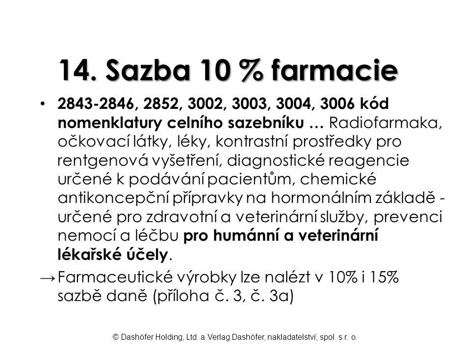 14. Sazba 10 % farmacie