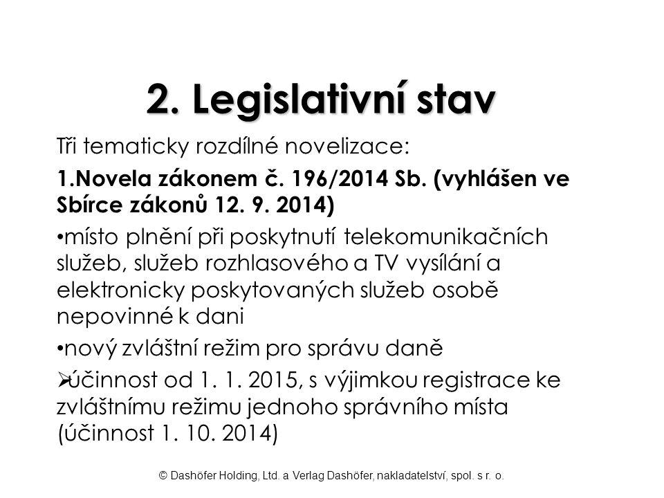 2. Legislativní stav Tři tematicky rozdílné novelizace: