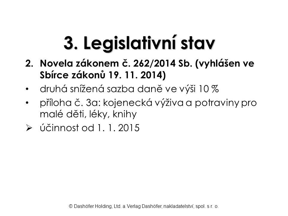 3. Legislativní stav Novela zákonem č. 262/2014 Sb. (vyhlášen ve Sbírce zákonů 19. 11. 2014) druhá snížená sazba daně ve výši 10 %