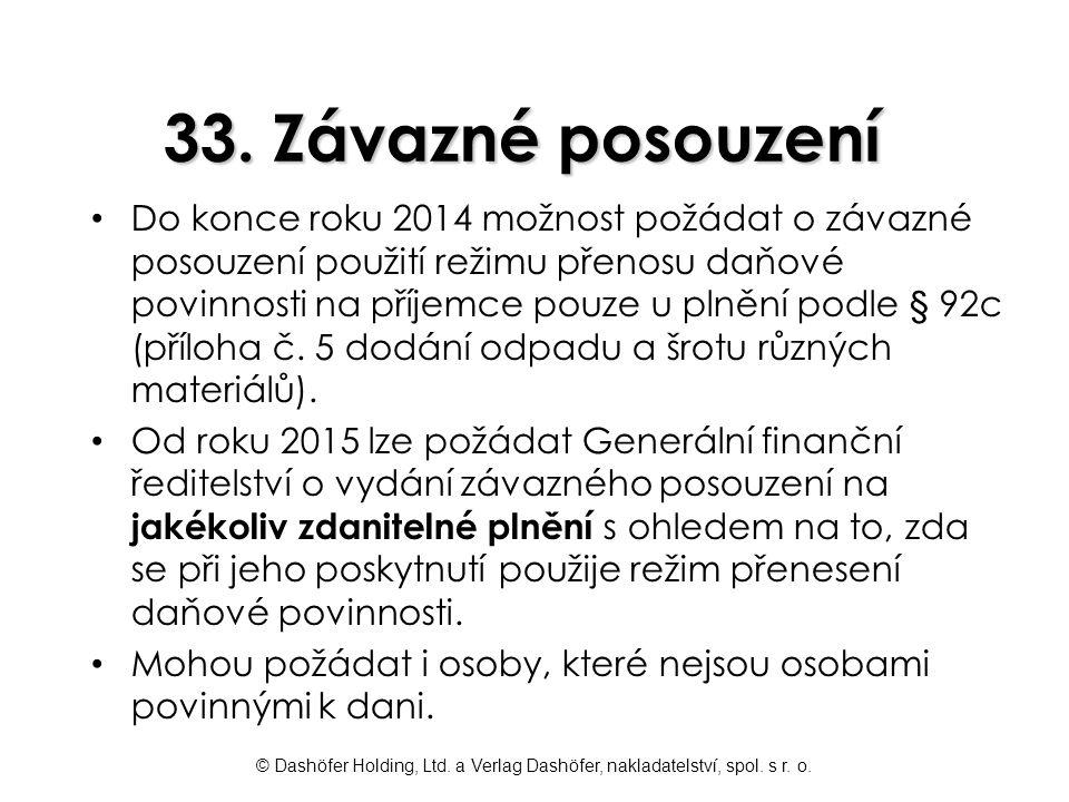 33. Závazné posouzení