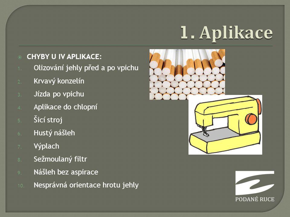 1. Aplikace CHYBY U IV APLIKACE: Olizování jehly před a po vpichu