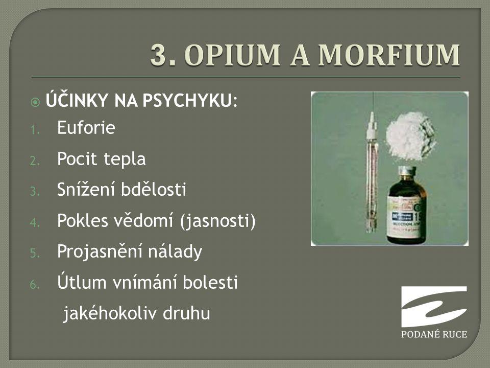 3. OPIUM A MORFIUM ÚČINKY NA PSYCHYKU: Euforie Pocit tepla
