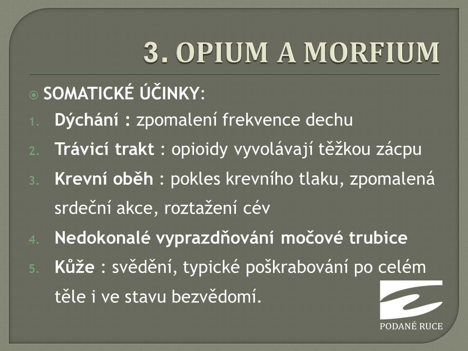 3. OPIUM A MORFIUM SOMATICKÉ ÚČINKY: