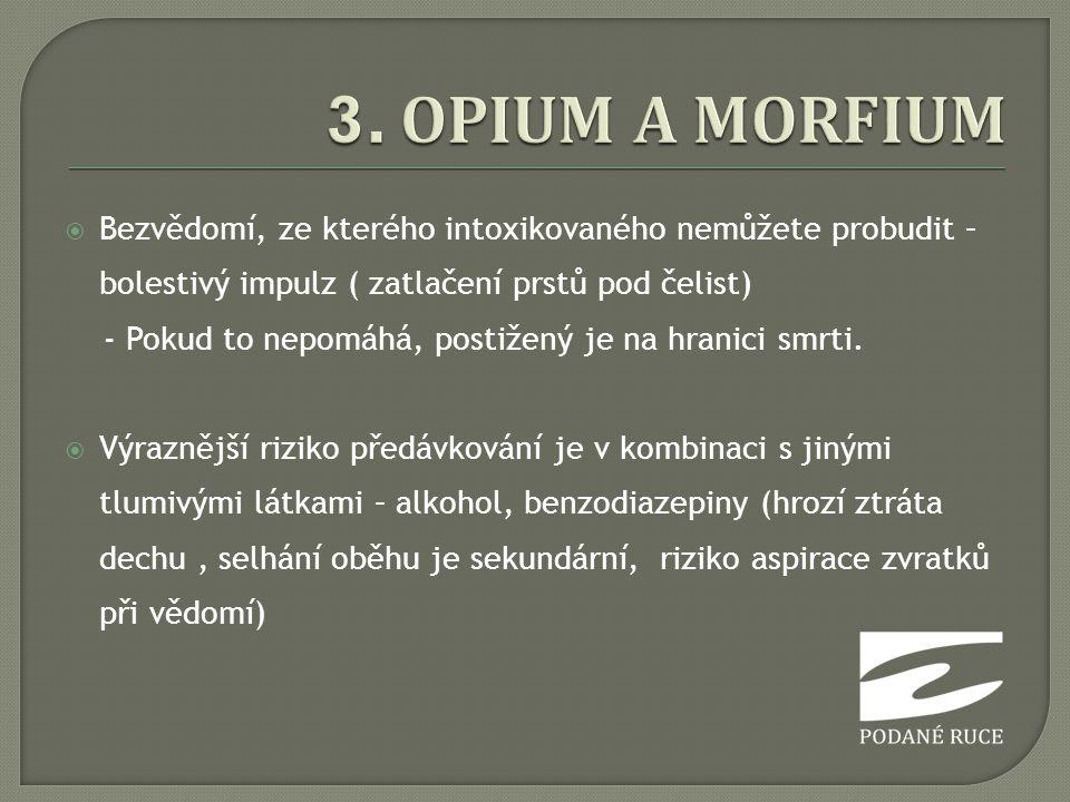 3. OPIUM A MORFIUM Bezvědomí, ze kterého intoxikovaného nemůžete probudit – bolestivý impulz ( zatlačení prstů pod čelist)