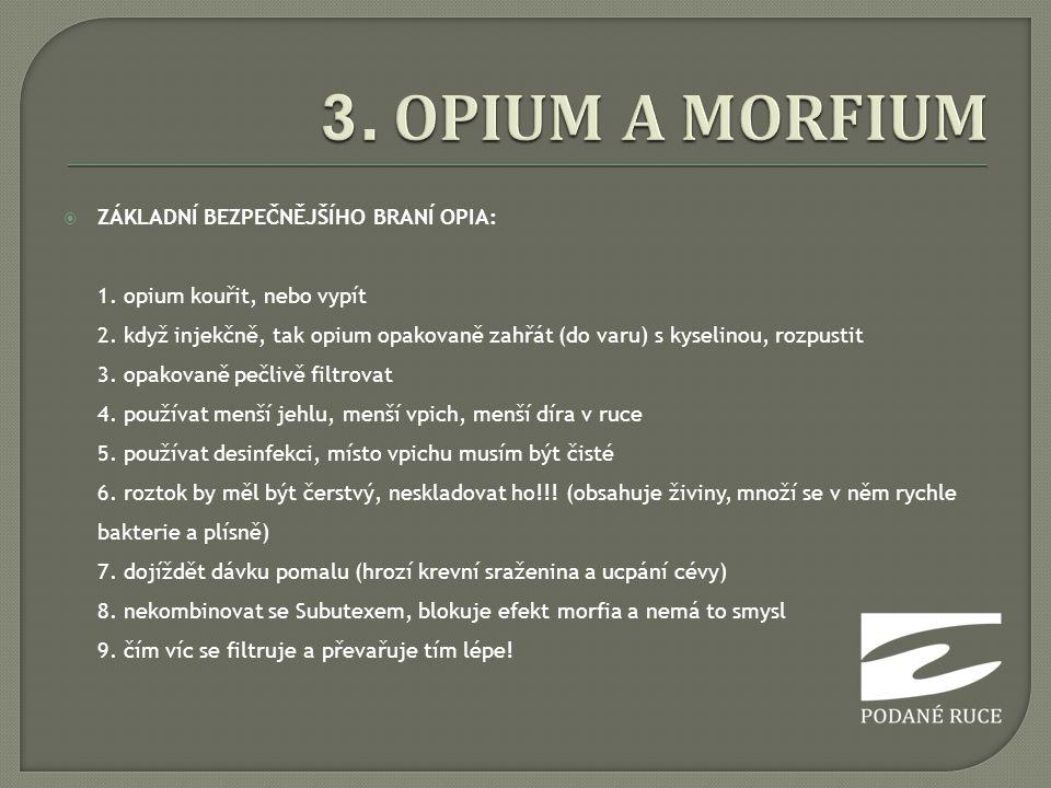 3. OPIUM A MORFIUM ZÁKLADNÍ BEZPEČNĚJŠÍHO BRANÍ OPIA: