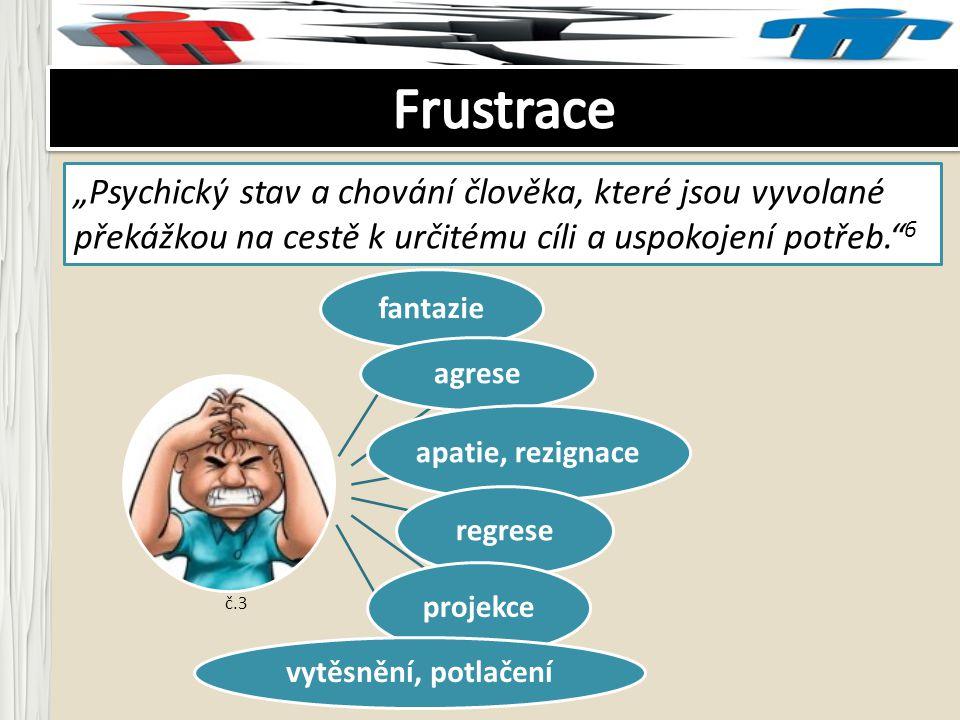 """Frustrace """"Psychický stav a chování člověka, které jsou vyvolané překážkou na cestě k určitému cíli a uspokojení potřeb. 6."""
