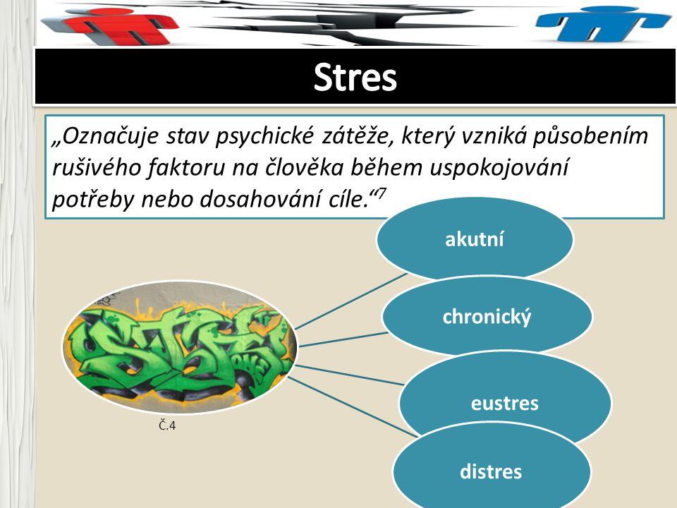 """Stres """"Označuje stav psychické zátěže, který vzniká působením rušivého faktoru na člověka během uspokojování potřeby nebo dosahování cíle. 7."""