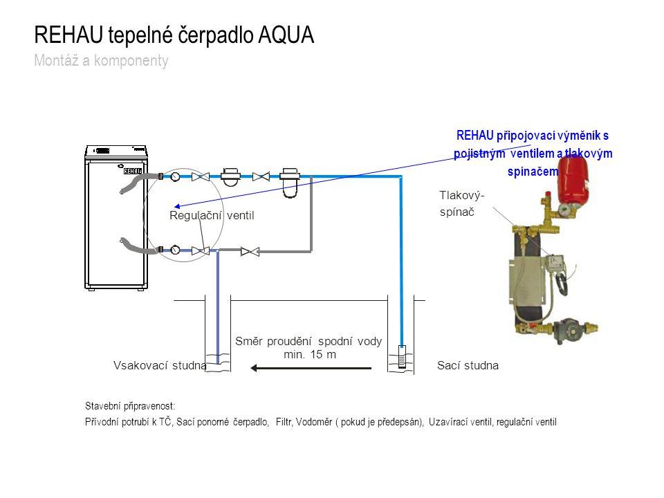 REHAU připojovací výměník s pojistným ventilem a tlakovým spínačem