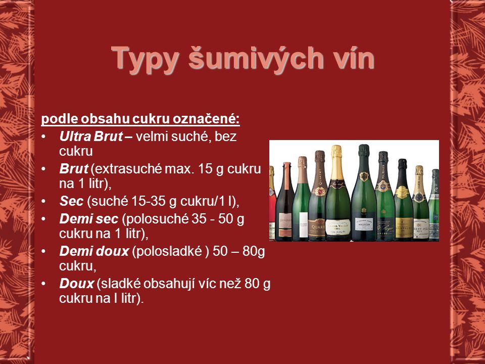 Typy šumivých vín podle obsahu cukru označené: