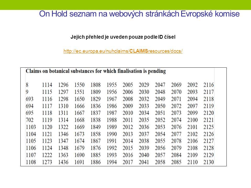 On Hold seznam na webových stránkách Evropské komise