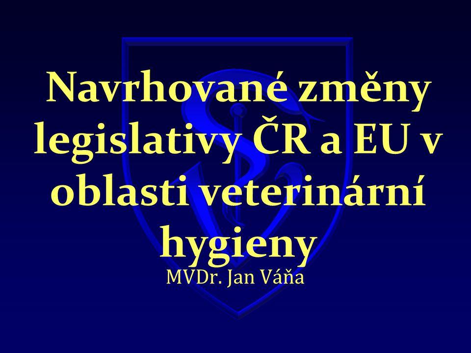 Navrhované změny legislativy ČR a EU v oblasti veterinární hygieny