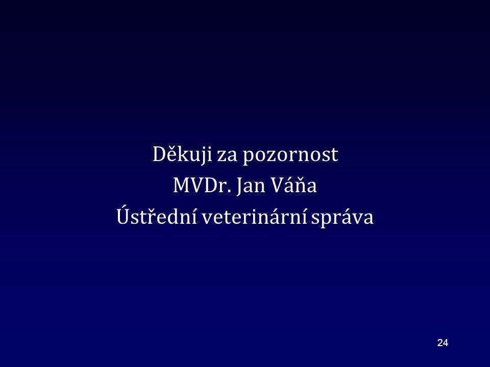 Děkuji za pozornost MVDr. Jan Váňa Ústřední veterinární správa