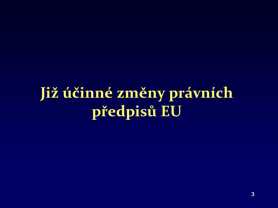 Již účinné změny právních předpisů EU