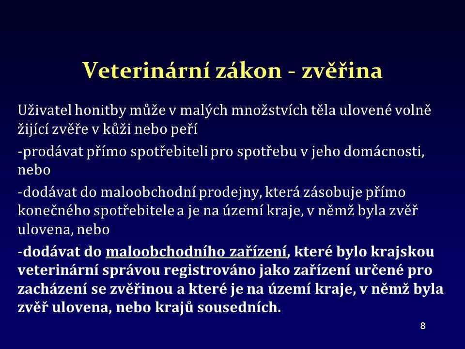 Veterinární zákon - zvěřina