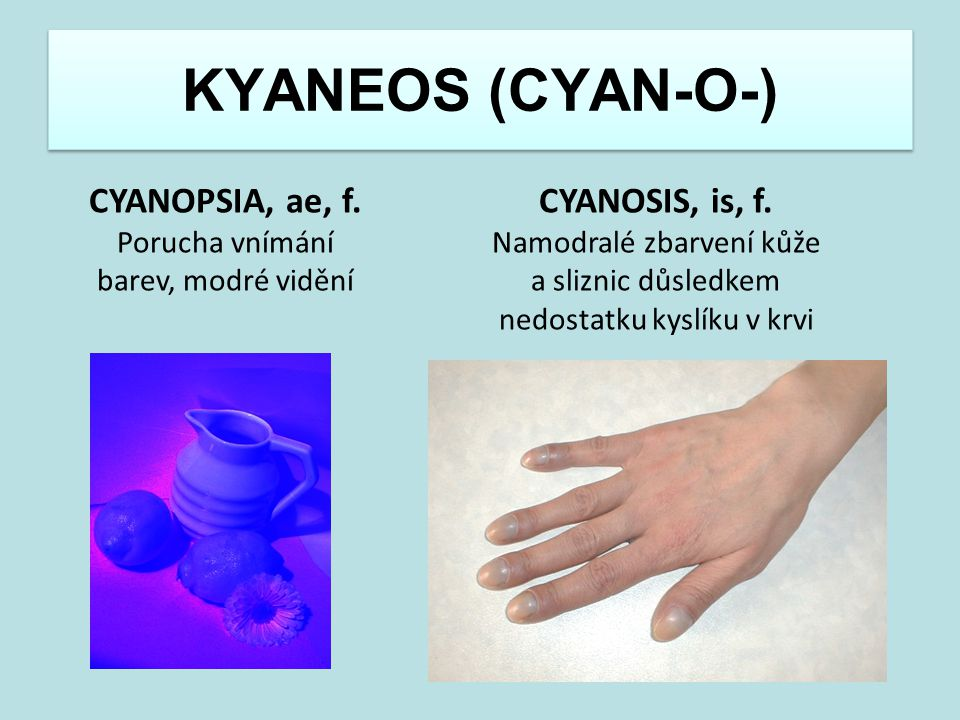 KYANEOS (CYAN-O-) CYANOPSIA, ae, f. CYANOSIS, is, f.
