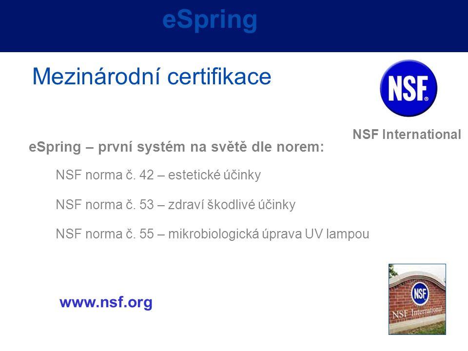 eSpring Mezinárodní certifikace