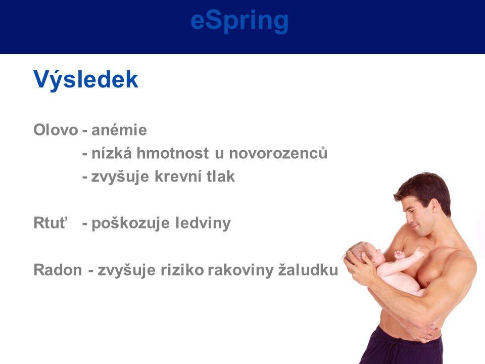 eSpring Výsledek Olovo - anémie - nízká hmotnost u novorozenců