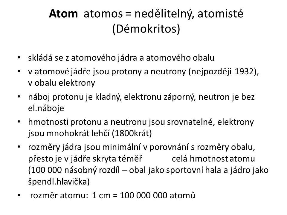 Atom atomos = nedělitelný, atomisté (Démokritos)
