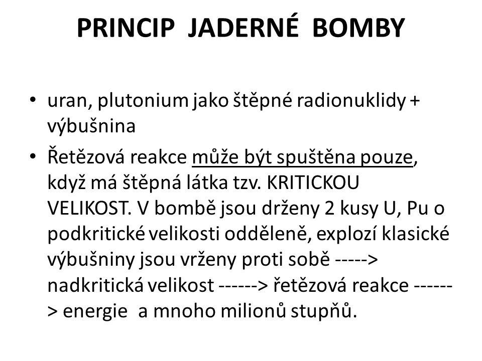 PRINCIP JADERNÉ BOMBY uran, plutonium jako štěpné radionuklidy + výbušnina.