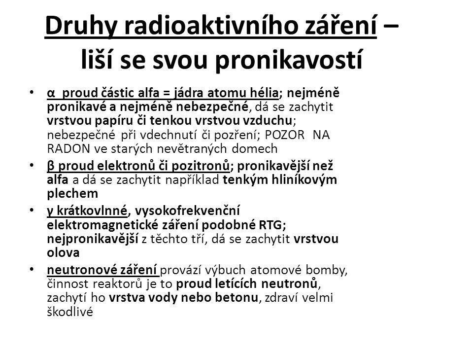 Druhy radioaktivního záření – liší se svou pronikavostí
