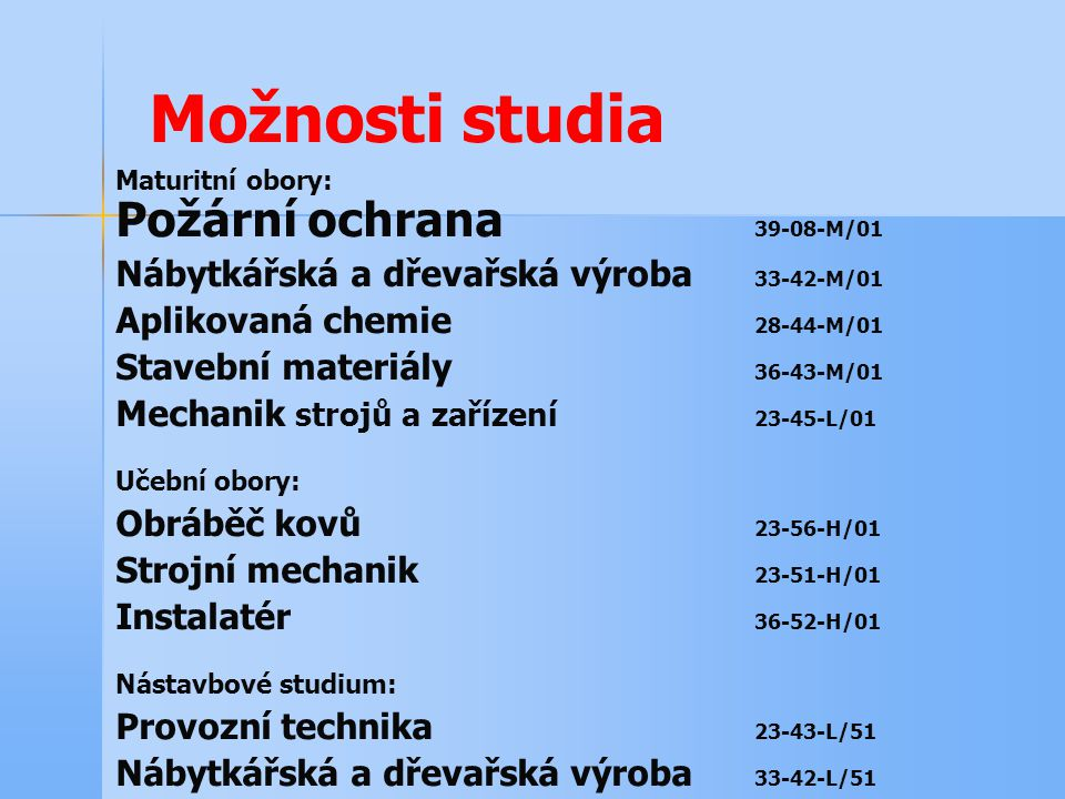 Možnosti studia Nábytkářská a dřevařská výroba 33-42-M/01