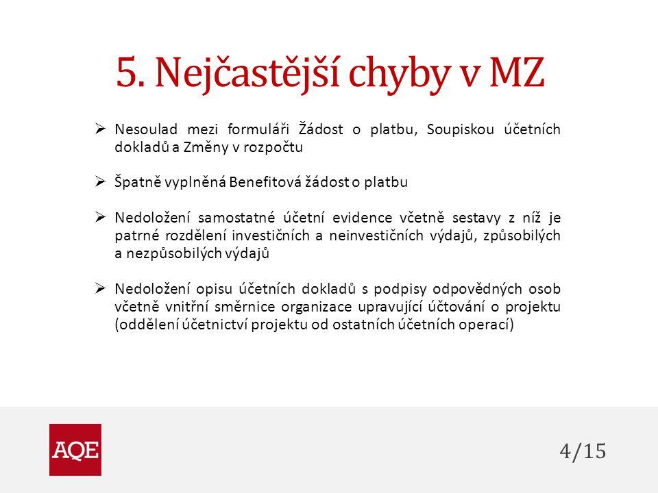 5. Nejčastější chyby v MZ 4/15