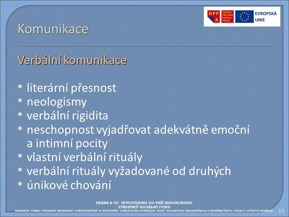 Komunikace Verbální komunikace literární přesnost neologismy