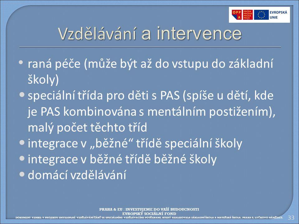 Vzdělávání a intervence