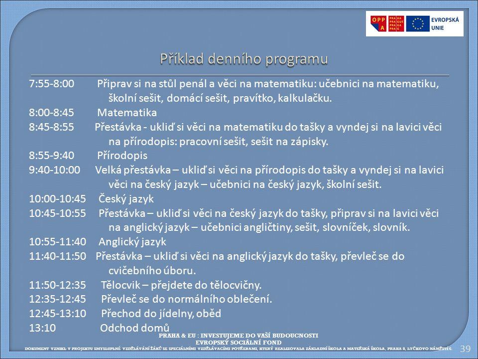 Příklad denního programu