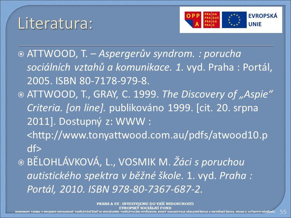 Literatura: ATTWOOD, T. – Aspergerův syndrom. : porucha sociálních vztahů a komunikace. 1. vyd. Praha : Portál, 2005. ISBN 80-7178-979-8.