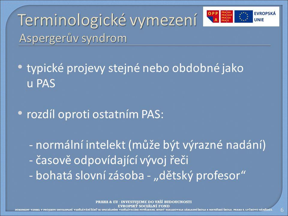 Terminologické vymezení Aspergerův syndrom