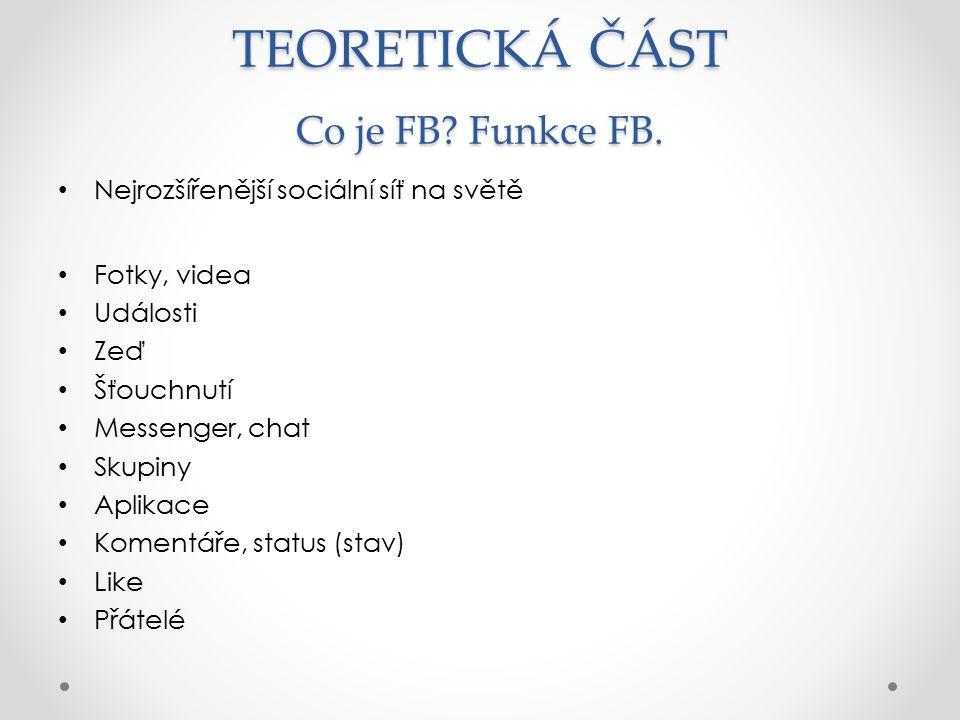 TEORETICKÁ ČÁST Co je FB Funkce FB.