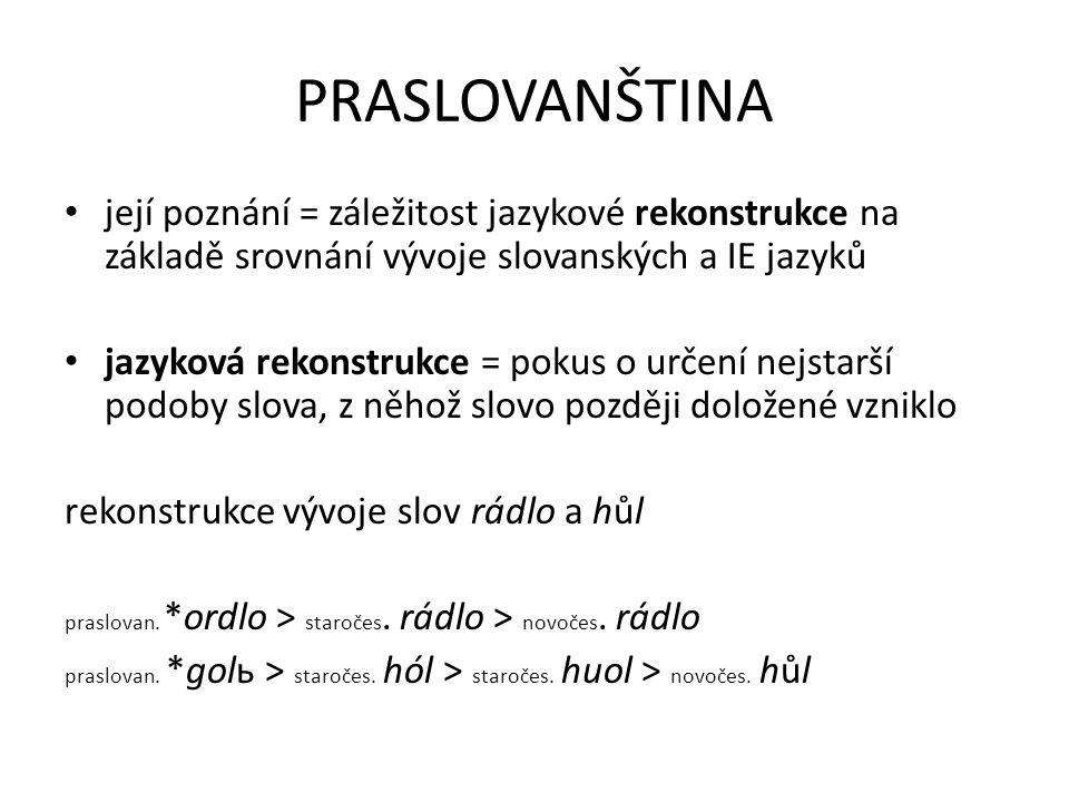 PRASLOVANŠTINA její poznání = záležitost jazykové rekonstrukce na základě srovnání vývoje slovanských a IE jazyků.