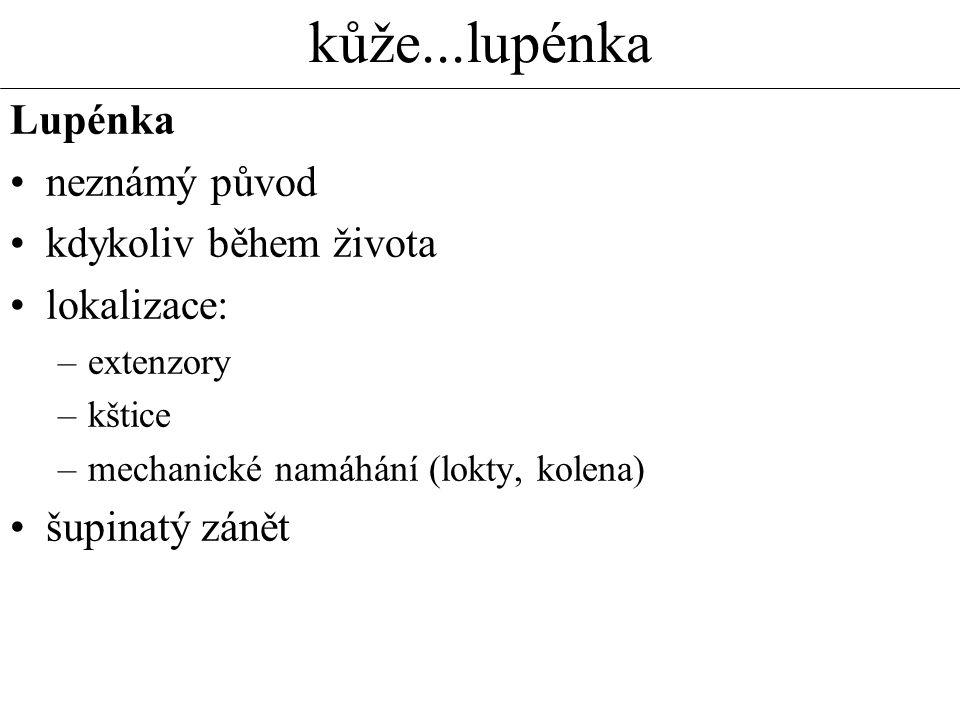kůže...lupénka Lupénka neznámý původ kdykoliv během života lokalizace: