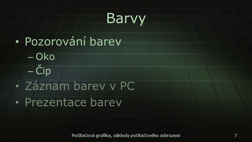 Počítačová grafika, základy počítačového zobrazení