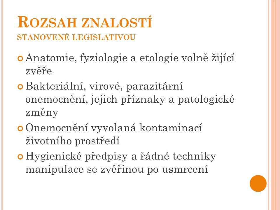 Rozsah znalostí stanovené legislativou