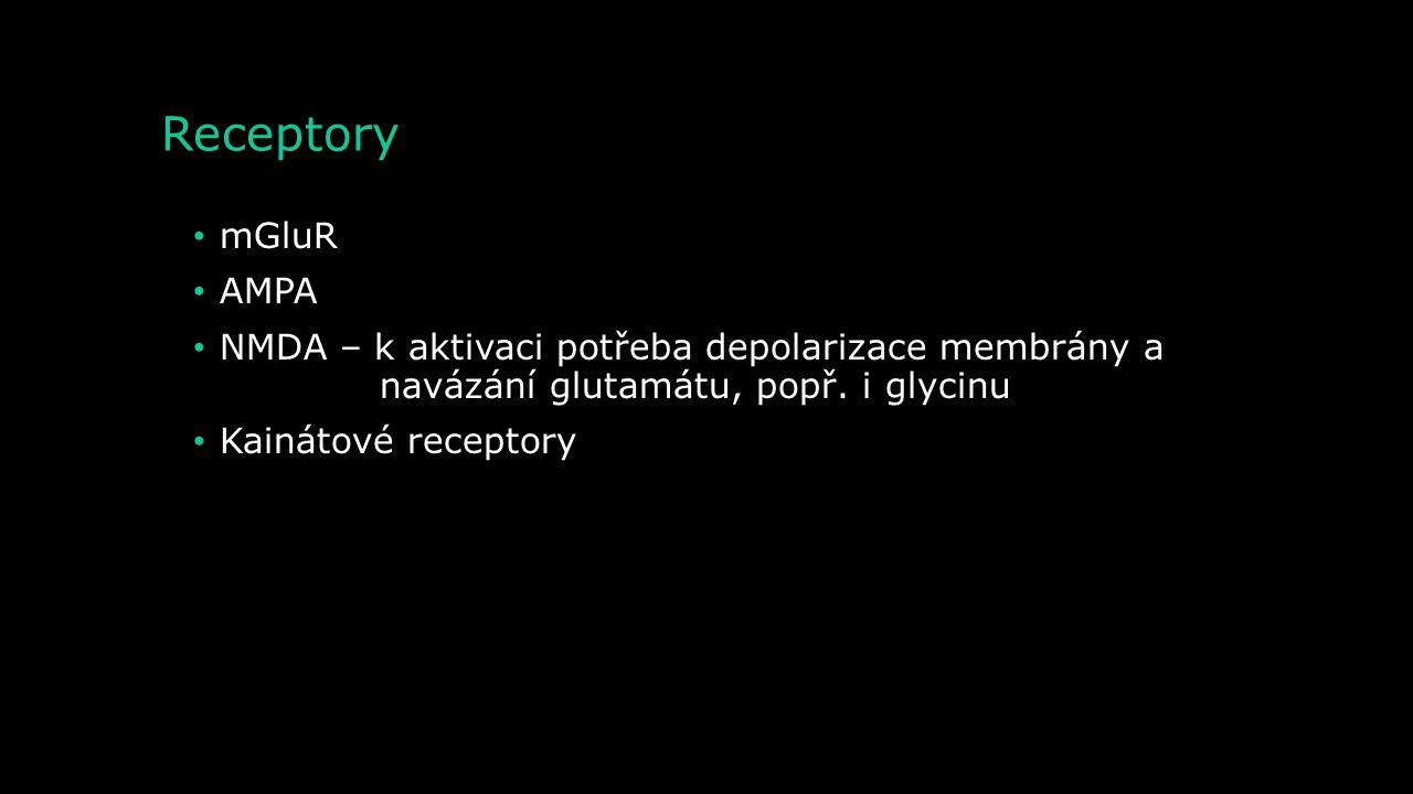 Receptory mGluR. AMPA. NMDA – k aktivaci potřeba depolarizace membrány a navázání glutamátu, popř. i glycinu.