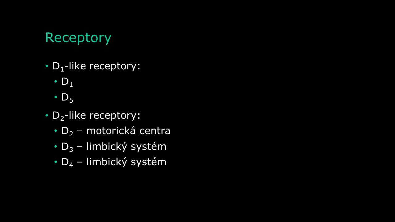 Receptory D1-like receptory: D1 D5 D2-like receptory: