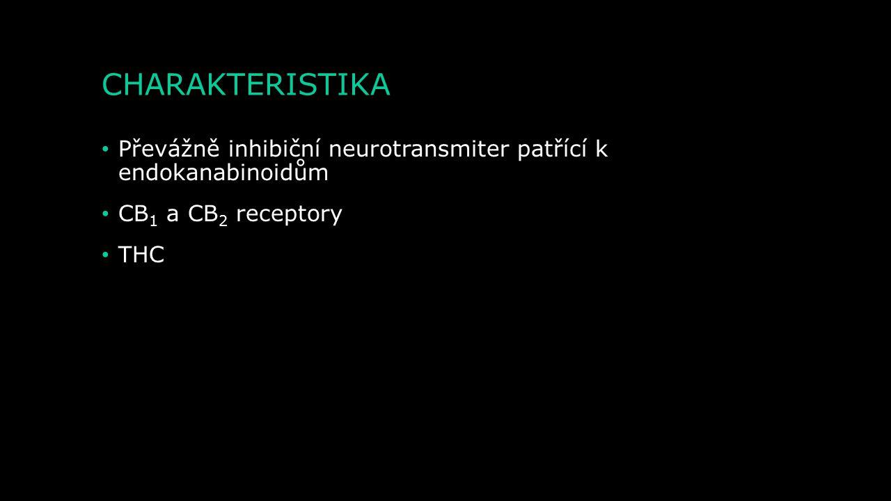 CHARAKTERISTIKA Převážně inhibiční neurotransmiter patřící k endokanabinoidům. CB1 a CB2 receptory.