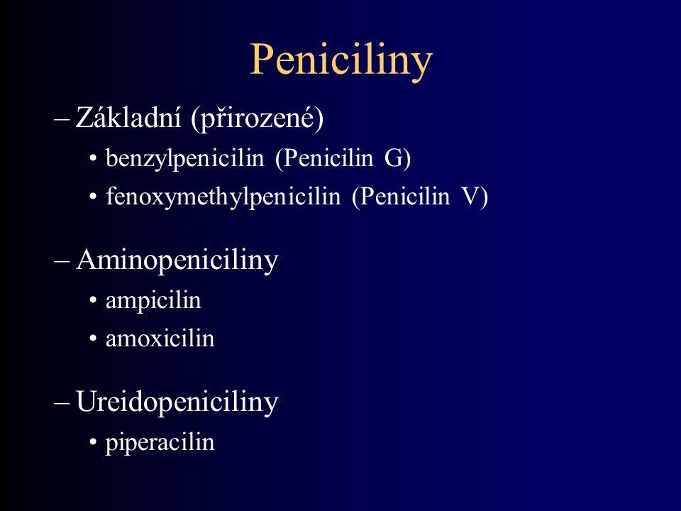 Peniciliny Základní (přirozené) Aminopeniciliny Ureidopeniciliny