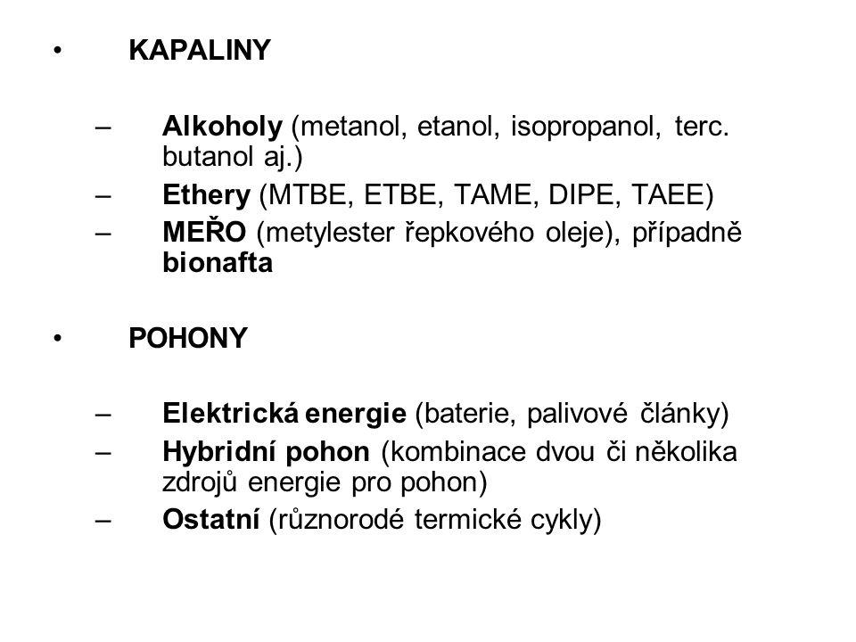KAPALINY Alkoholy (metanol, etanol, isopropanol, terc. butanol aj.) Ethery (MTBE, ETBE, TAME, DIPE, TAEE)