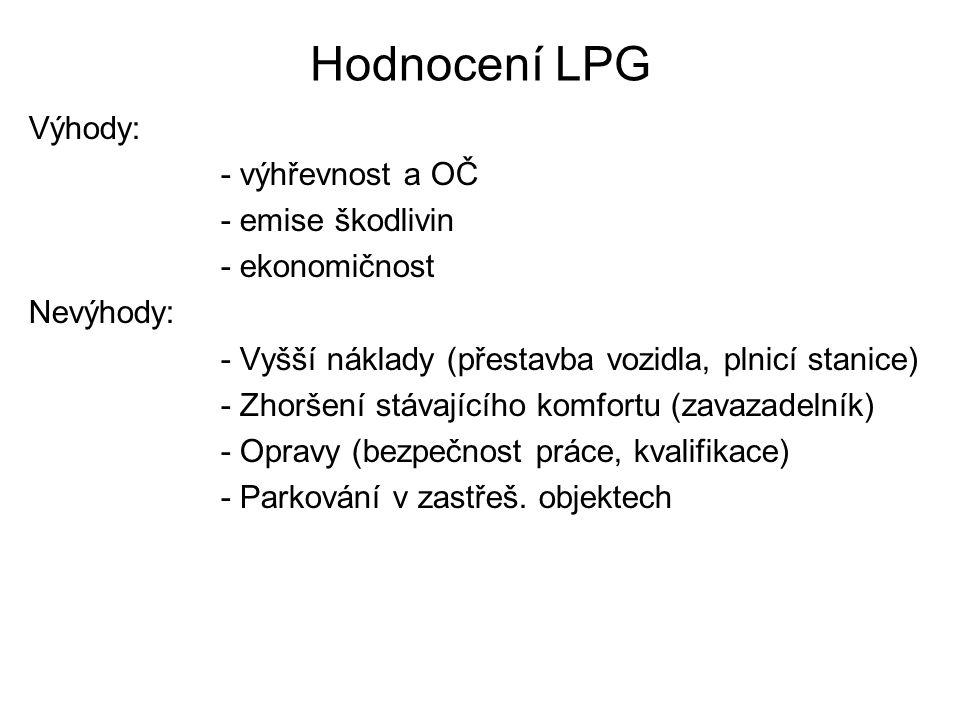 Hodnocení LPG Výhody: - výhřevnost a OČ - emise škodlivin