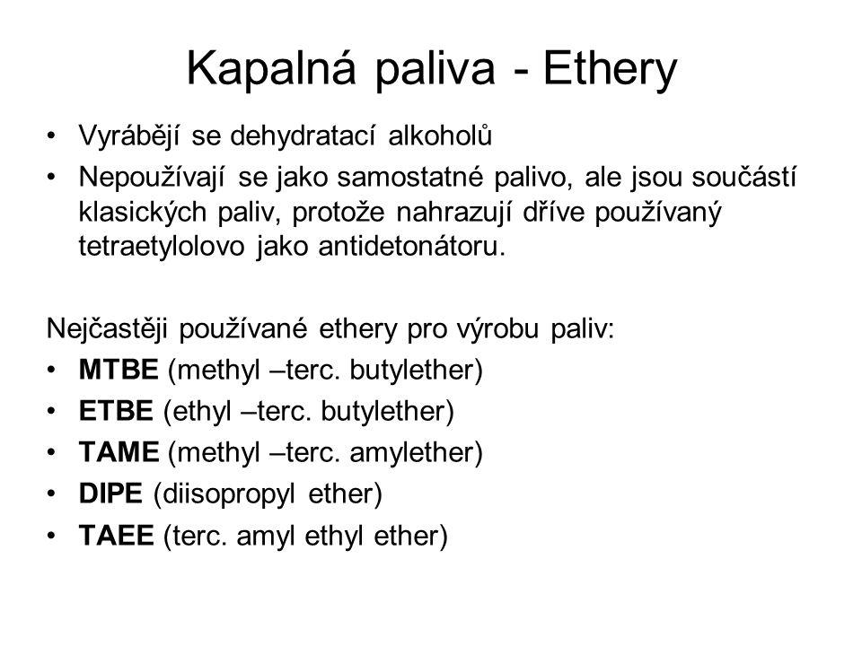 Kapalná paliva - Ethery