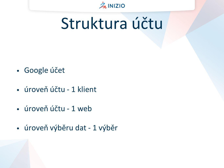 Struktura účtu Google účet úroveň účtu - 1 klient úroveň účtu - 1 web