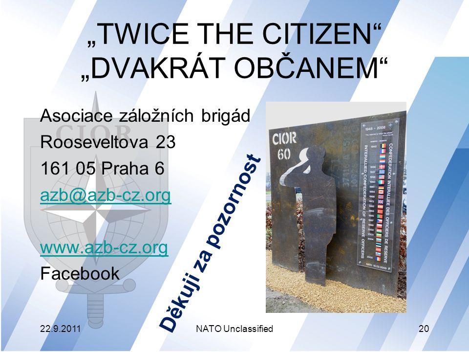 """""""TWICE THE CITIZEN """"DVAKRÁT OBČANEM"""