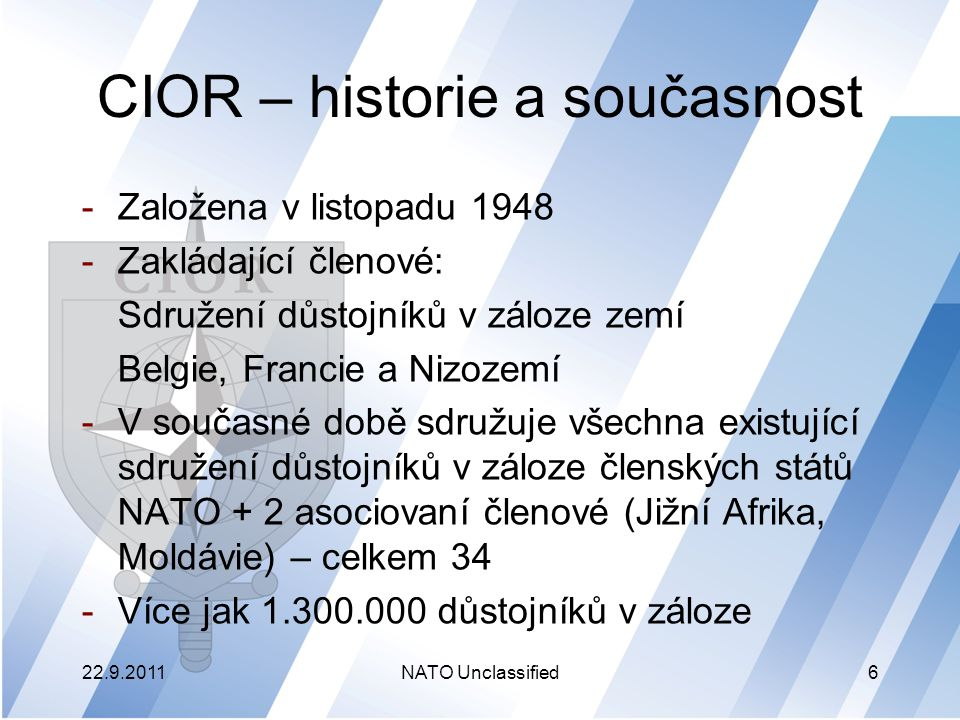 CIOR – historie a současnost