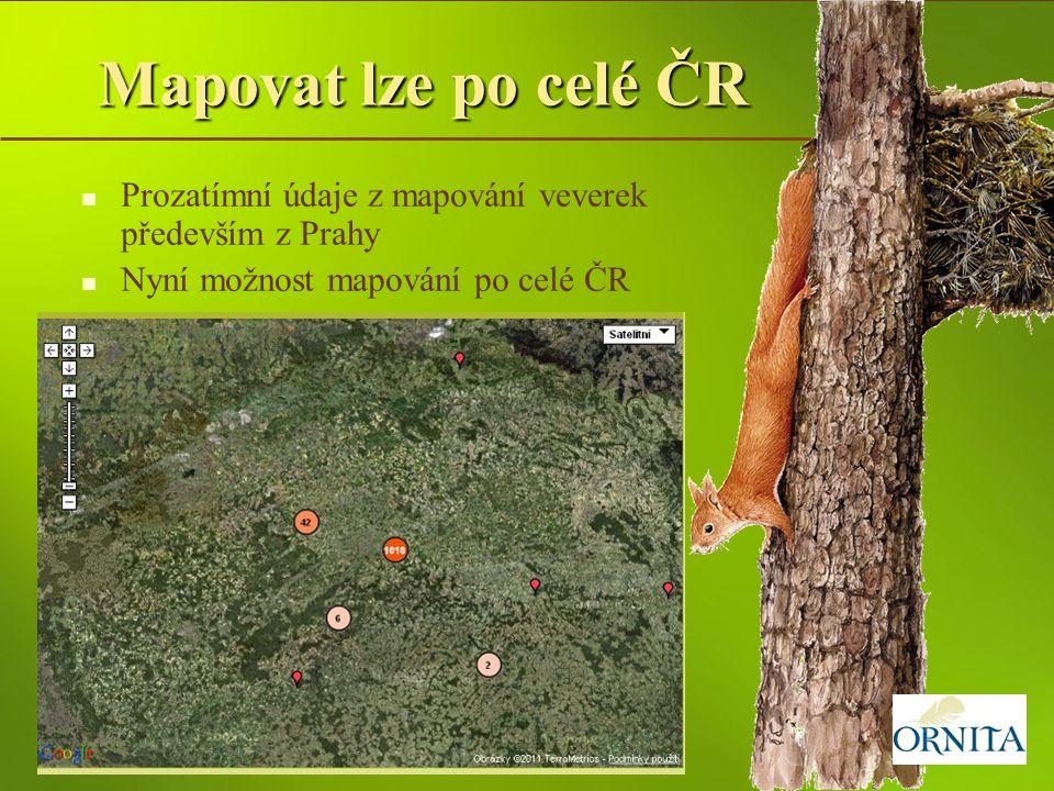 Mapovat lze po celé ČR Prozatímní údaje z mapování veverek především z Prahy.