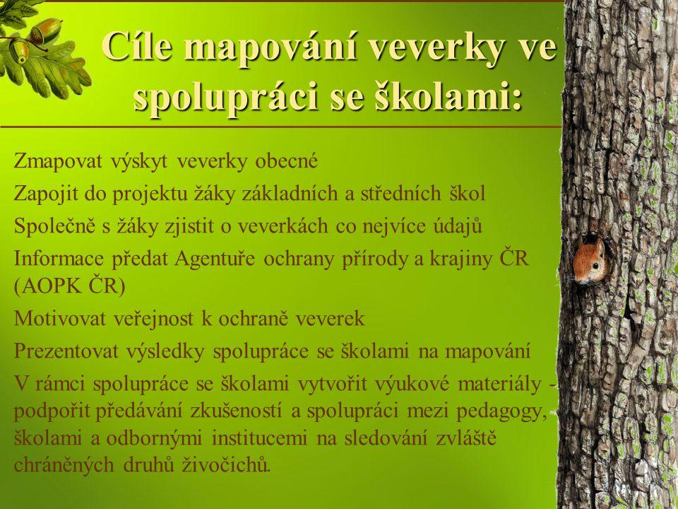 Cíle mapování veverky ve spolupráci se školami:
