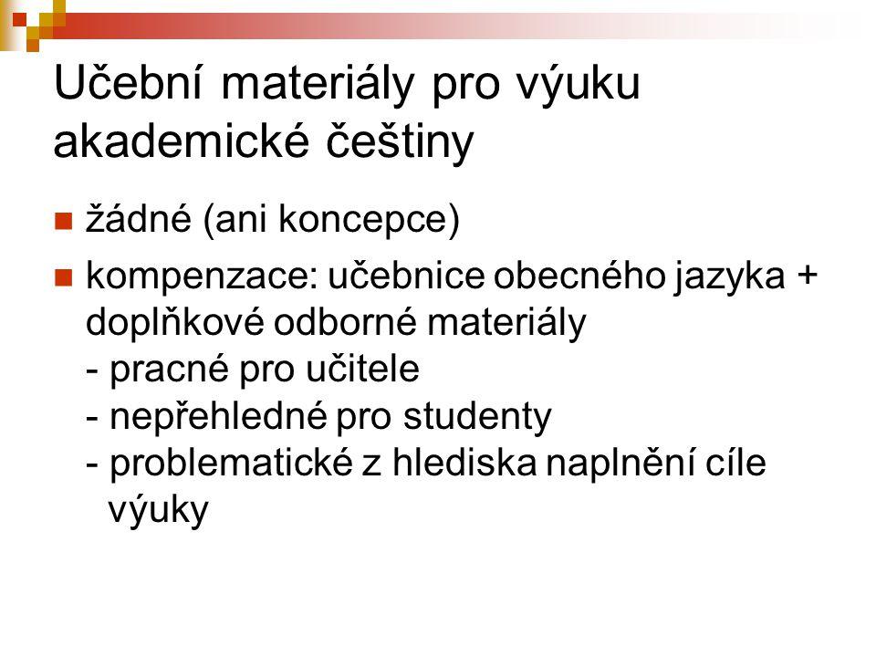 Učební materiály pro výuku akademické češtiny
